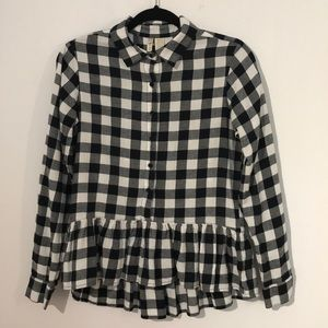 Vichy print peplum blouse